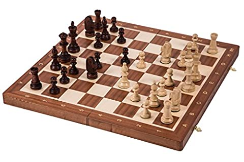 Wooden Chess Tournament No. 5 - MAHOGANY - Chessboard & Chess Pieces Staunton 5