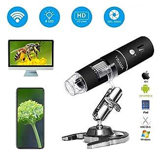 SUN RDPP Wireless Digital Mikroskop, 50x Vergrößerung Kamera 1000x, 8 LED-Mini-Tasche mit 1080P 2MP, kompatibel mit iPhone und Android, iPad MAC Windows-