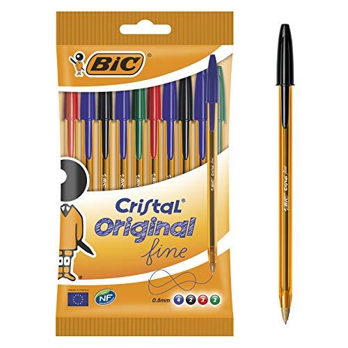 BIC Kugelschreiber Cristal Original fine im 10er Set - Blau, Schwarz, Rot, Grün