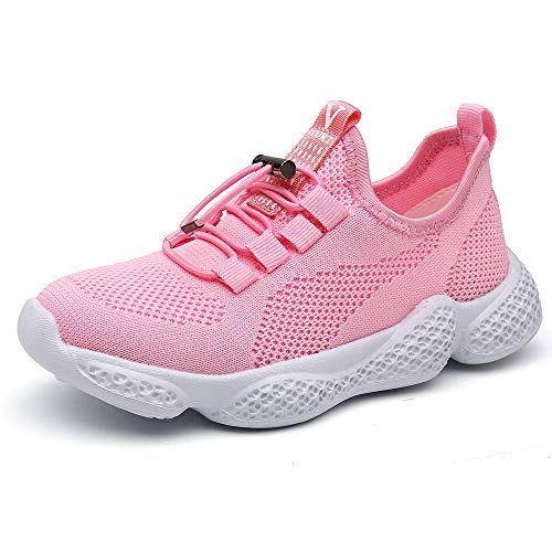 Scarpe sportive bambino sneakers da corsa ragazzo mesh running bambini calzature ginnastica fitness leggera all'aperto ragazzi unisex rosa 29