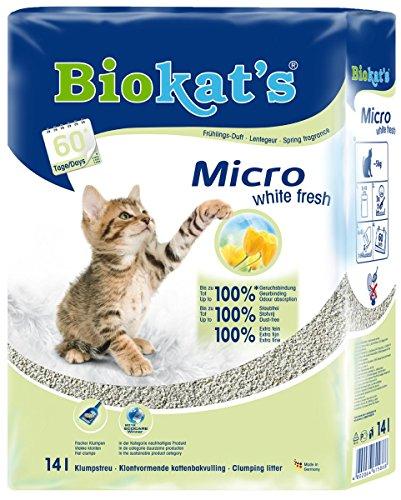 Biokats Micro White Fresh Feine Katzenstreu mit Frühlings-Duft | Hohe Ergiebigkeit und...