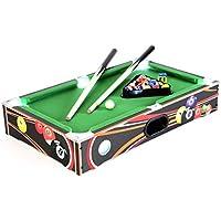 Nexos Mini Pool Billardtisch Spielfeld mit LED-Beleuchtung Batterie 51 x 31,5 x 9 cm inkl. Queue Kugeln Dreieck Kreide Tischspiel Tischbillard für Groß und Klein