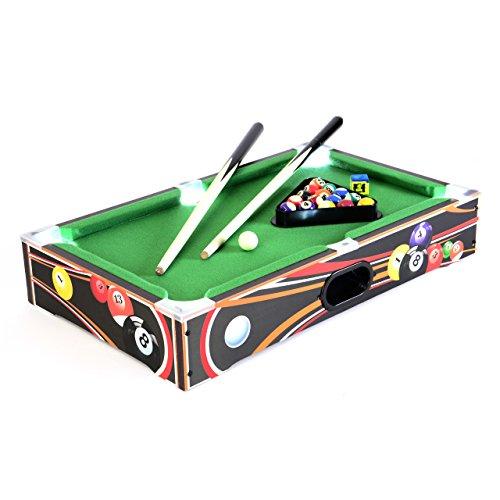 ardtisch Spielfeld mit LED-Beleuchtung Batterie 51 x 31,5 x 9 cm inkl. Queue Kugeln Dreieck Kreide Tischspiel Tischbillard für Groß und Klein ()