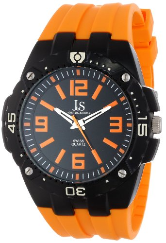 Joshua & Sons Montre à quartz sportive Cadran noir et orange Bracelet en silicone durable Homme JS-36-OR
