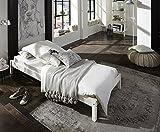 SAM Futonbett Sina 90x200 cm, Jugendbett, weiß lackiert, Kiefernholz, massives Bett aus Kiefer