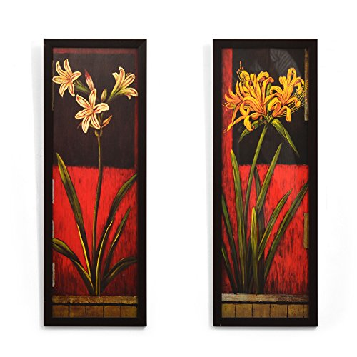 @Home 'Floral' Painting (Fabric, 17 cm x 3 cm x 46.99 cm, Maroon, Set of 2)