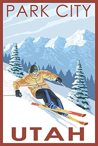 Park City, Utah-Downhill Skifahrer, Papier, multi, 9 x 12 Art Print Downhill Parka
