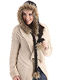 Ladies Knitted Peruvian Pom Pom Hood Hat + Fur Trim