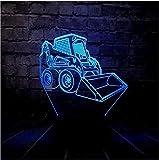 Bulldozer Led Nuit Lumière Usb Charge Chambre Sommeil Décor 7 Couleur Changeusb Base Garçon Jouet Cadeau Télécommande Voiture Enfants 3D