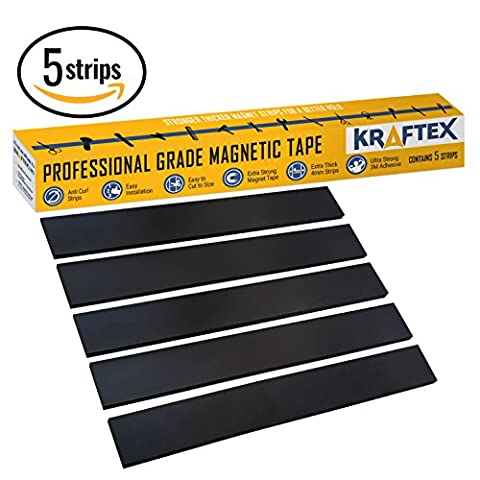 New; Magnetic Tape [Extra Strong Premium Grade] Magnet Strips with Strong Adhesive Backing for Walls, Boards, Crafts, Storage, DIY, Home, Garage and Displays [Heavy Duty Thicker Roll] 32mm Wide [5