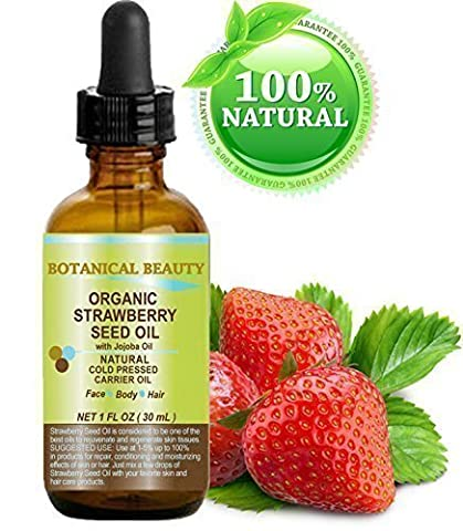 STRAWBERRY SEED OIL ORGANIC. 100% Pure Moisturizer/ Natural Cold Pressed Carrier oil. 1 Fl.oz.- 30 ml. For Skin, Hair, Lip and Nail Care.