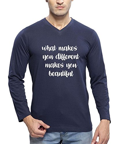 Clifton Men's Printed Full Sleeve V-Neck T-Shirt-Navy -Makes You Beautiful-W-L