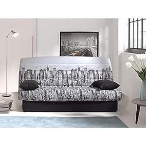 coco banquette clic clac convertible 2 places 190x89x90 cm tissu manhattan. Black Bedroom Furniture Sets. Home Design Ideas