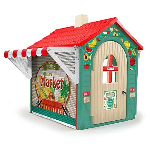 INJUSA- Casita de Juguete Market House con Toldo y Persiana para Niños de 3 años con App Educativa...