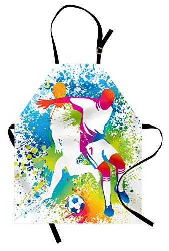 Fußball Jugend Kostüm - ABAKUHAUS Jugend Kochschürze, Fußball-Spieler mit Einem Fußball und bunten Grunge spritzt Wettbewerb Sport, Farbfest Höhenverstellbar Waschbar Klarer Digitaldruck, Mehrfarbig