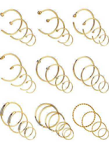 36 Stücke 20 Gauge Edelstahl Ohrringe Nase Piercing Ring Hoop Knorpel Piercing Schmuck für Männer und Damen, 4 Größen, 9 Stile (Gold Farbe) (4 Nasenstecker Gold 3)
