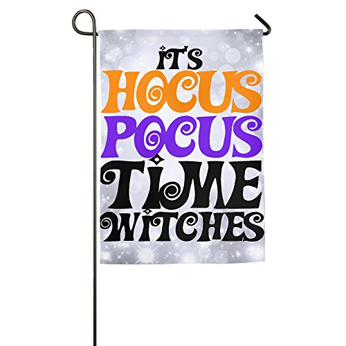 SonwAndIce - It's Hocus Pocus Time Hexen Halloween Haus & Garten Flagge Indoor & Outdoor Deko Flagge für Parade Sport Spiel Familie Party Wandbanner 12 * 18inch weiß