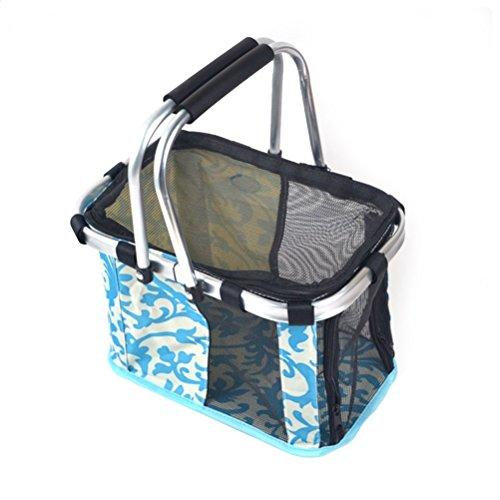 Faltbare Transportbox für Katzen und Hunde, UEETEK Haustier Klappbare Reisebox Tasche mit Griffe (Blau)