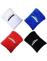 Toalla muñequeras pulsera COOLOMG para Baloncesto Tenis Badminton 6 colores disponible en 4 piezas Black,Red,White,Blue