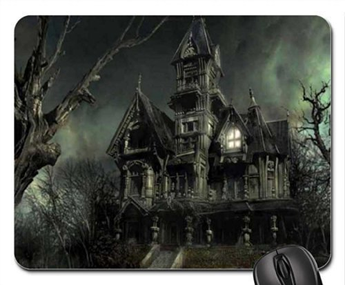 Scary Loocking Haunted House Mouse Pad, Mousepad,Size in 8.7