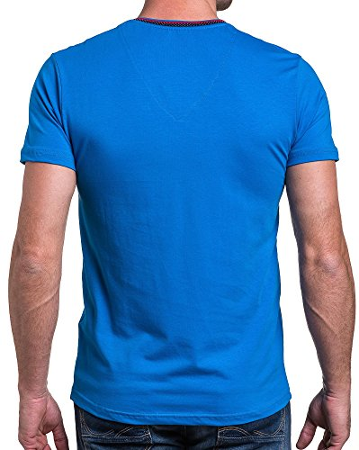 BLZ jeans - T-Shirt Königsblau V-Ausschnitt Mann Brust Gummi-Logo Blau