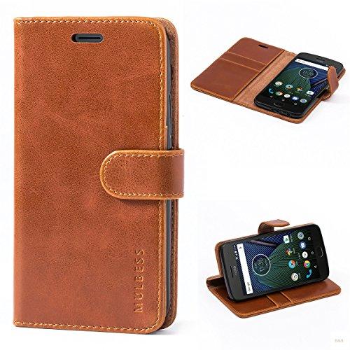 Mulbess (Vintage bookstyle) Premium Handy Schutzhülle Ledertasche im Kartenfach für Motorola Moto G5 Plus (5,2 Zoll) Tasche Hülle Leder Etui Schale,Braun