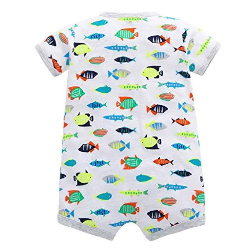 Livoral Madchen Geschenke 4 Jahre Baby-Säuglingsmädchen-Jungen-Einteiler-Karikatur-gestreifte Druckspielanzug-Bodysuit-Kleidung(Grau,12M)