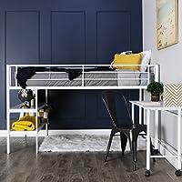 Preisvergleich für WE Furniture Wir Möbel Twin Loft-mit Schreibtisch und Regalen, schwarz, Metall, weiß, Twin