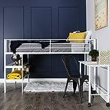 WE Furniture Nous Avons Meubles Twin Lit Mezzanine avec Bureau et étagères, Noir,...