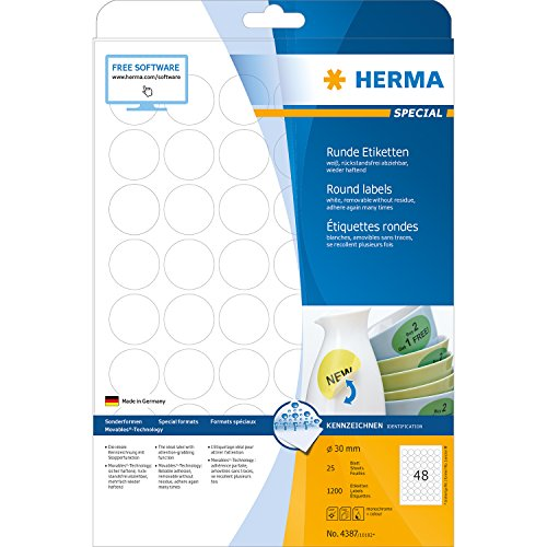 Preisvergleich Produktbild Herma 4387 Universal Etiketten rund, ablösbar (Ø 30 mm) weiß, 1.200 Aufkleber, 25 Blatt DIN A4 Papier matt, bedruckbar, selbstklebend, Movables