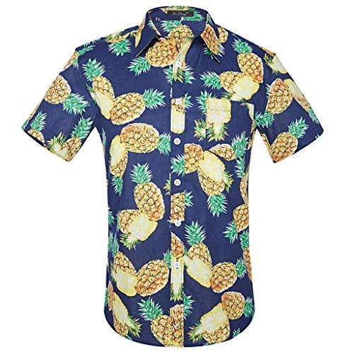 UFACE Freizeithemd Herren Sommer Freizeit Hemd Kurzarm Slim Fit 3D Reise Hawaiihemd für Männer t-Shirt Herren weiß t-Shirt Herren v-Ausschnitt t-Shirt Herren sprüche lustig t-Shirt Herren lustig