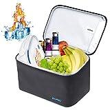 ISOPHO ISOPHO Kühltasche 7L Lunchtasche Kühlakku Thermotasch, Wasserdicht Leichte Isoliertasche,  Wasserdicht Reißverschluss Schulterriemen Picknicktasche für Arbeit und Schule(Schwarz )