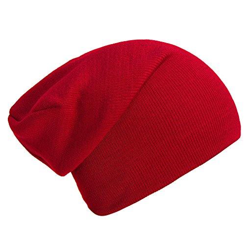 Wintermütze Mütze klassische Slouch Beanie one Size - Rot