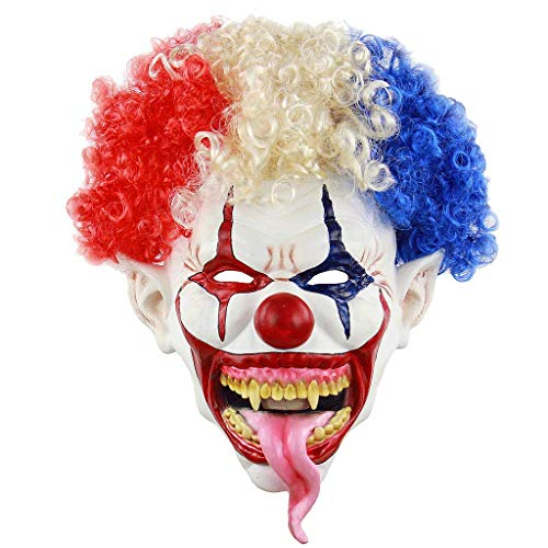 Clown Frauen Kostüm Dead - Ellyeall Verrückte Clown Kostüme Maske Böser Teufel Gruselige Maske Kostümzubehör Horror Deluxe Böse Neuheit Halloween Maske Gruselig Lustig Verrückt Nach Erwachsenen,A