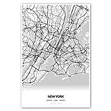 Zulumaps Poster 20x30cm Stadtplan New York - hochwertiger Kunstdruck