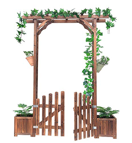 JANRON Arco da Giardino di Legno con Cancelletto in Legno Archetto per rampicanti Arco per Rosa decorationi con Porta - 172X41X220cm