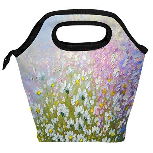 Onled - borsa termica per il pranzo, motivo: margherite, colori a olio, isolante, per la primavera, paesaggio, borsa termica per il pranzo, per donne, uomini, picnic, viaggi, portatile, riutilizzabile