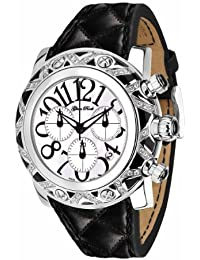 Glam Rock Unisex Quartz Watch with White Dial Analogue Display and Black Leather Strap 0.96.2149