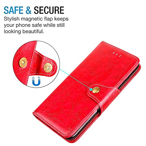 "MOONCASE iPhone 7 Plus Coque, [Retro Folio Design] Support Flip Cuir Housse Doux TPU Protection Portefeuille Etui Cases pour iPhone 7 Plus 5.5"" Red Red"