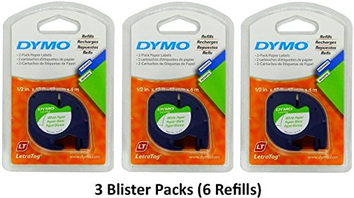 Dymo 10697 selbstklebend weiß Papier Labeling Tape für Letratag (LT) Label Makers; 3 Blister (6 Refills); mit je zwei 1/5,1 cm breit x 13 ft Lang (12 mm x 4 m) Refill Rollen