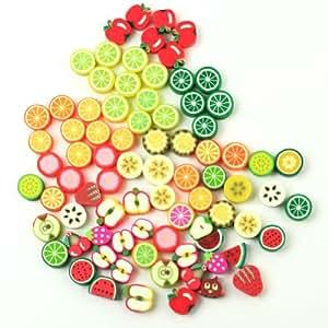 lot 100 perles fruit pate fimo polymere 10 x 10 pomme raisin citron mixte cuisine. Black Bedroom Furniture Sets. Home Design Ideas