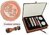 MDLG New Vintage Custom Made Zwei Briefe Initialen Love Herz Monogramm Personalisierte Buchstabe Bild Logo Retro Einladung Wachs Siegel Stempel Palisander Griff Set