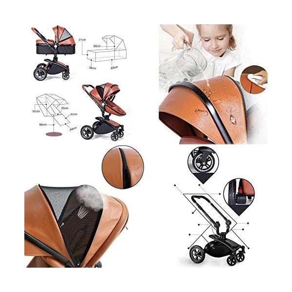 HZC 2 in 1 Baby Stroller Newborn Bassinet Travel System Baby Carriage for Toddler Girls and Boys (Color : White) HZC Suitable for baby strollers from birth to 25 kg, made of high-quality aluminum alloy, each baby stroller is pressure tested to provide safety for every baby. Multi-position Reversible Seat: Carrycot for newborn to 6 months can simply convert to seat for toddlers. Easily switch from the carrycot to toddler seat once your baby is 6 months old or can sit unaided,making it an ideal stroller for both infant and toddler. Reversible seat design allows baby to face you or face the world 5