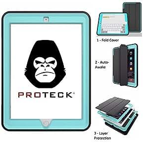 Proteck , Coque pour iPad 4 Ipad 3 Ipad 2, Housse Etui Smart cover avec Mise en veille automatique et Support/Rabat de positionnement [ Antichoc- Triple Epaisseurs] Silicone - Bleu