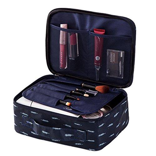 Sac de maquillage, Sensail étanche Voyage Trousse de toilette Grand sac de maquillage trousse de toilette Vanity avec poignée pour Voyage sac de rangement -Différents styles (24 X 18 X 9 cm, Bleu Marine-D)