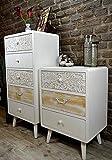 Livitat® Kommode Schrank Sweet Home 3 Schubladen Vintage Shabby Chic Weiß LV6021