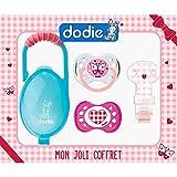 Dodie-Coffret de 2 sucettes Anatomiques +6 mois FILLE - 1 sucette jour + 1 sucette nuit + 1 attache-sucette ruban + 1 boîte à sucettes