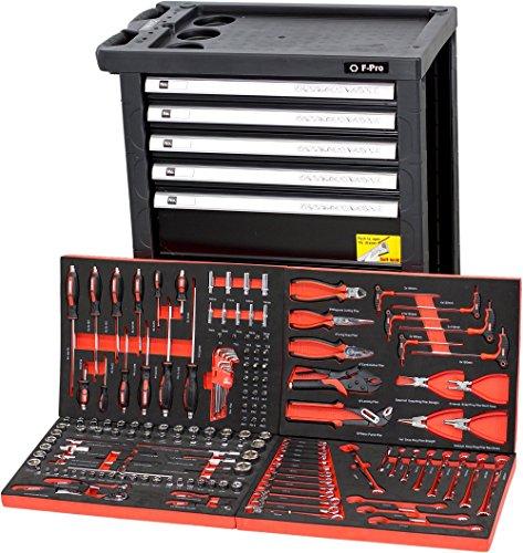F-BD Black Red Edition | Werkzeugwagen * Werkstattwagen * 6 Schubladen / 4 gefüllt mit Werkzeug |...