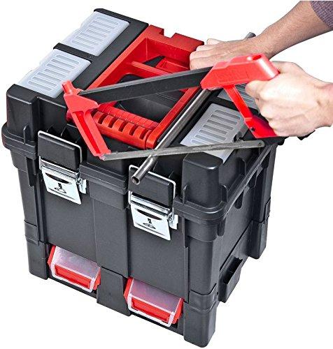 Werkzeugkoffer Werkzeugwagen Rollwagen Wheelbox HD Compact schwarz / rot Trolley Rollen - 7