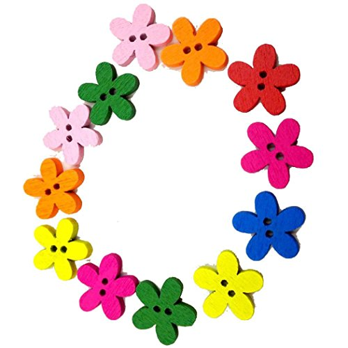 Winkey 10015mm Nähen Scrapbooking Süße kleine Blumen in 2Löcher gemischt Knöpfe aus Holz